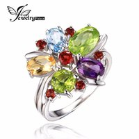 Cheap JewelryPalace Flower Multicolor 3.1ct Natural Amethyst Garnet Peridot Citrine Blue Topaz Cocktail Ring 925 Sterling Silver Ring