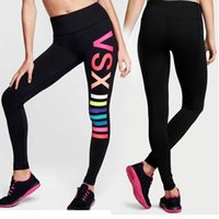 Wholesale VS LOVE PINK Fashion Women s skinny Running Yoga Gym Sports joggers Leggings Pants Elastic Trousers high waist Fitness Wear quick dry