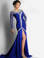 Wholesale 2016 Celebrity oscar red carpet gown Mermaid Split Royal Blue Bling Beaded Crystal Prom Gowns Formal Custom Evening Party Club Wear