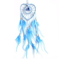 antique wooden indians - Dream Catcher with Feather Wooden Bead Heart shaped Handmade Indian Style Wall Home Decoration Ornament Car Pendant Lake Blue