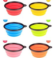 Wholesale Hot Sale Portable Pet Dog Cat Fashion Silicone Collapsible Feeding Feed Water Feeders Foldable Travel Food Bowls Dish