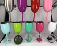 Wholesale 10oz Stainless Steel Wine Glass Colors Double Wall Insulated Metal Goblet With Lid Rambler Colster Tumbler Red Wine Mugs OOA1433