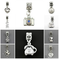 Wholesale Beads Silver Plated Acrylic Charms Beads Fit pandora Charms Jewelry Bracelets Necklaces For Jewelry Making Beads