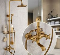 wall mount bath mixers taps - Bathroom Antique Brass Shower Faucet Rainfall Shower Head Bathtub Mixer Tap With Bath Shelf