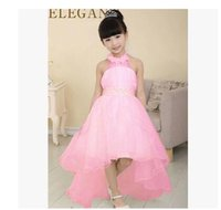 baby wholsale - Wholsale Elegant Baby Girl Cute Asymmetric Halterneck Solid Mesh Long tail flower girl dress tutu wedding party backless trailing ball Free