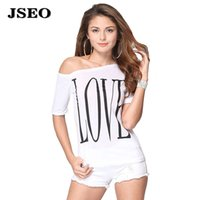 tunic tops - JSEO Women Off Shoulder Cotton Letter Printed T shirt Blouse Short Sleeve Casual Tunic Crop Fashion Tops
