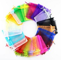 Wholesale Jewelry Bags Organza Jewelry Wedding Party Xmas Gift Bags Purple Blue Pink Yellow Black With Drawstring cm