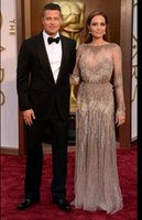 Maxi Dresses angelina jolie style - Evening dress Zuhair murad Angelina Jolie Long sleeve Crystals yousef aljasmi Labourjoisie Kim kardashian Charbel zoe Celebrity