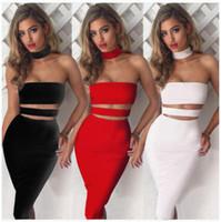 Wholesale 2017 new European ladies sexy slim sleeveless midriff bandage dress Halter Dress XL