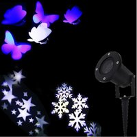 Wholesale 2016 new Christmas Lights Outdoor LED Snowflake Projector Light Star Projector Batterfly Light Waterproof Snow Laser Christmas Lights