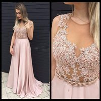 Cheap Dressy New Star New Arrival 2017 Evening Dresses Applique Pearls See Through Back Pageant Gown Formal Gowns Pink Chiffon robe de soiree