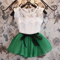 Wholesale Baby Girls Clothes Sets Fashion Boutique Children lace tulle bow dress sets Kids clothes children tees skirts chiffon Outfits XZT007