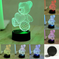 Wholesale 7 Colorful D Visual Love Heart Bear Led Night Lights for Kids Touch USB Table Lampara Lampe Baby Sleeping Nightlight