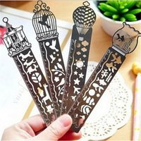 Wholesale X Cartoon bird fish metal bookmark with ruler material escolar papelaria bookmarks for books stationery cm
