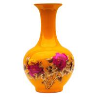 Wholesale Jingdezhen ceramics Peony straw big flooor flower vase China s gold yellow glaze Wedding gift large size