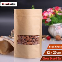 Wholesale 5 Paper Bag x20cm Ink jet Printer Stand up Kraft Bag With Window Kraft Paper Ziplock Bag Paper Doypack Pouch