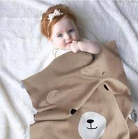al por mayor oso patrón de tejido-INS Moda Europa Recién nacido Bebé que hace punto patrón del oso de la manta muchachos que swaddling para la manta del aire acondicionado Estera del juego de la estera de la alfombra