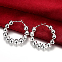 Wholesale 8M Prayer Beads Earrings Circle Earring Fashion Silver Ball Jewelry Simple Ornaments