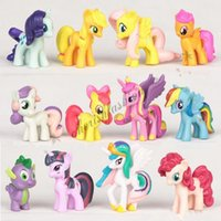 Wholesale 12Pcs Colourful My Little Pony Cake Toppers Doll PVC Action Figures Toy M515 B