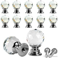 Wholesale 10Pcs Beauty Crystal Glass Door Drawer Cabinet Wardrobe Pull Handle Knobs E00043 ONET