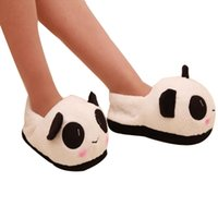 Wholesale- Lover Indoor Thermal Anti-Slip Cute Lovely Chinet Winter Cartoon Cotton Slippers Panda Face Ménage Soft Peluche Warm Shoes