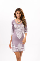 Wholesale Women NEW spring summer Sleeve Sexy National Style Scoop Neck A line Print Dress