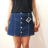 alexa chung fashion - Alexa chung for ag denim skirt a single breasted denim short skirt