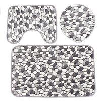 bathroom kit sets - Coral Velvet Non slip Washable Bathroom Mats Rugs Set Pebble Pattern Floor Carpet Bath Mat Pedestal Toilet Rug Kits