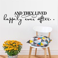 Wholesale 57x15cm English Quotes They Lived Happily Wall Sticker Removable Art Mural Decal for Home Decoration Children s Bedroom Kids Room