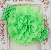 alice flower - 12 COLORS Hair Accessories Flower Corsage Chiffon Cutout Girls Baby Toddlers Elastic Alice Band Headband YH426