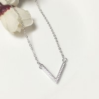 Wholesale Sterling silver Sterling silver choker necklace Collarbone chain Mosaic Cubic zirconia Collarbone chain Valentine s day gifts