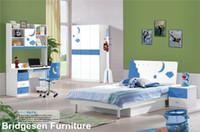 Wholesale MDF Teenage Princess Boy Kids Bedroom Furniture Set with Door Wardrobe Nightstand Bookcase Blue
