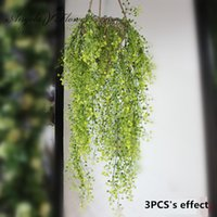 balcony hanging baskets - Green Hanging Plant Artificial Plant Mini flower Willow Wall Home Decoration Balcony Decorattion Flower Basket Accessories