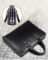 Wholesale Male bag handbag briefcase school messenger bag men leather Notebook Cross section cowhide woven briefcase business computer bag