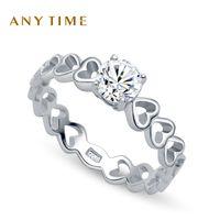Wholesale Silver Diamond R20457 AI she love Korean silver inlay artificial diamond ring