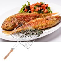 barbecue grill net - Outdoor Wooden Handle Rectangle Hollow Out Metal Mesh Barbecue Grill Net