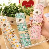 Wholesale Retro Flower Floral Lace Canvas Bag Holder Wrap Roll Up Stationery Pen Brushes Makeup Pencil Case Pouch