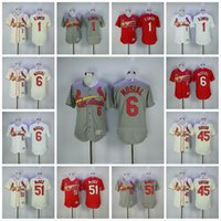 Baseball Men Short #1 Ozzie Smith #6 Stan Musial #51 Willie McGee #45 Bob Gibson St. Louis Cardinals Jersey Men All Stitched Flexbase Onfiled Baseball Jerseys
