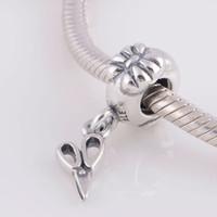 al por mayor encanto de la pulsera de tijera-Genuine 925 Sterling Silver Beads Vintage Scissors cuelga el encanto del cuchillo para las pulseras europeas de la marca de fábrica 925 ALE