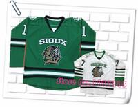 Wholesale New Design North Dakota Hockey Jerseys Sioux Battle Hockey Green White Black Jerseys Custom Any Name and Number Jerseys