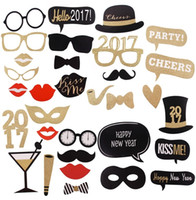 Wholesale Glitter New Year Photo Booth Props Funny Mask DIY Glasses Happy New Year Chalkboard Wedding Party Decorations