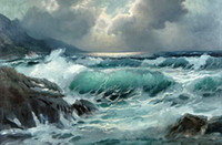 One Panel Oil Painting Fashion Framed Great ocean waves & rock before storm Handpainted seascape Art Oil Painting on High Quality Canvas Home Wall Decor Multiple size
