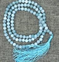 aquamarine silver bracelet - 6mm stone Buddhist Natural Aquamarine Prayer Beads Mala Bracelet Necklace AA
