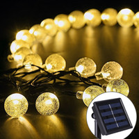Wholesale 30 LED Crystal Ball Solar Powered String Indoor or Outdoor Lights Pink Red Purple Blue Pure White Warm White Multicolor