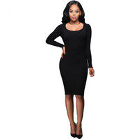 sexy bodycon vert plus la robe de taille achat en gros de-2017 New Fashion Plus Size Army Green Black Tricoté Bodycon Dress Femme Long Sleeve Sexy Evening Party Pencil Dresses
