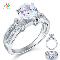 Wholesale Peacock Star Created Diamond Solid Sterling Silver Wedding Promise Engagement Ring Jewelry CFR8078