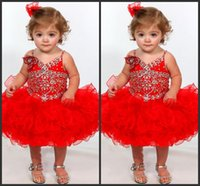 beautiful baby wear - Baby Dresses Kids Formal Wear Red Party Dresses Crystals Sequin Pipings Elegant Sleeveless Cheap Price High Quality Prom Beautiful Shiny