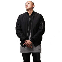 Wholesale Fashion Military Style Mens Black Bomber Jacket Hi Street Flight Jacket Slim Fit Hip Hop Varsity Letterman Jacket For Man