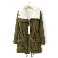 Wholesale 2017 Winter Warm jean jacket for women Long Slim Cotton Fleece Jackets Parkas Napka Jaqueta Feminine Jaquetas Outwear COAT