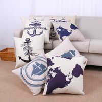 as show anchor textiles - sailing anchor rudder map Compass patter Pillow Case Cotton Linen Cushion Cover square Throw pillow Covers Home Textiles Pillowcase